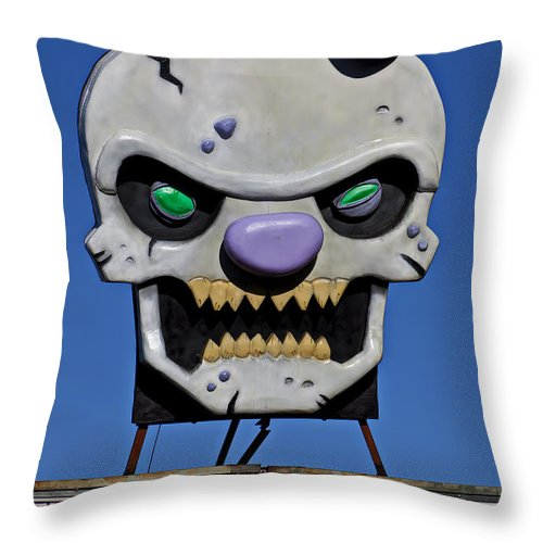 Skull Throw Pillow featuring the photograph Skull Fun House Sign by Garry Gay
