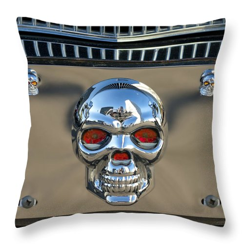 Skull License Plate Throw Pillow featuring the photograph Skull License Plate by Jill Reger