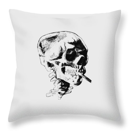 Skull Throw Pillow featuring the painting Skull Smoking A Cigarette by War Is Hell Store