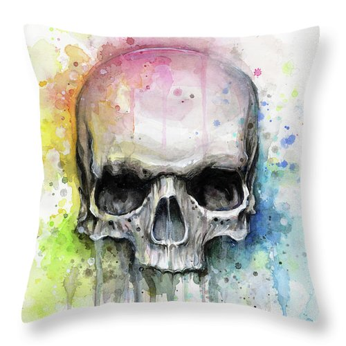 Skull Throw Pillow featuring the painting Skull Watercolor Rainbow by Olga Shvartsur