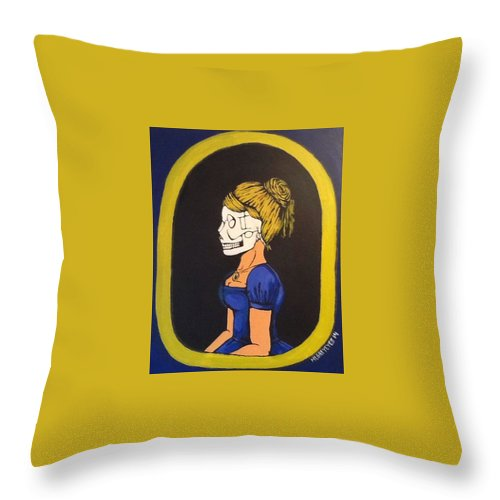 Horror Throw Pillow featuring the painting Skull Woman by Misty Greyeyes