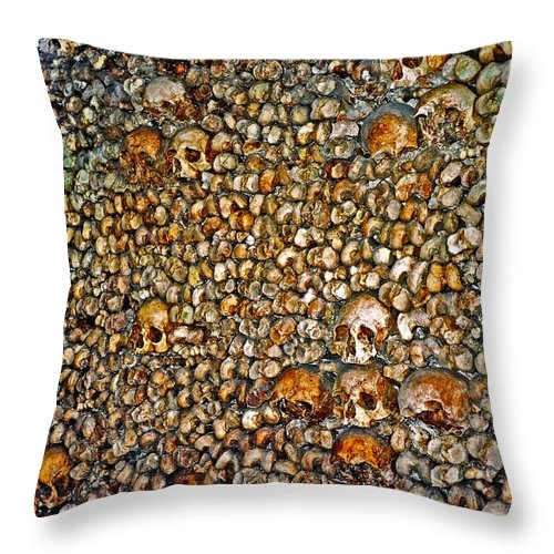 Skulls Throw Pillow featuring the photograph Skulls And Bones Under Paris by Juergen Weiss