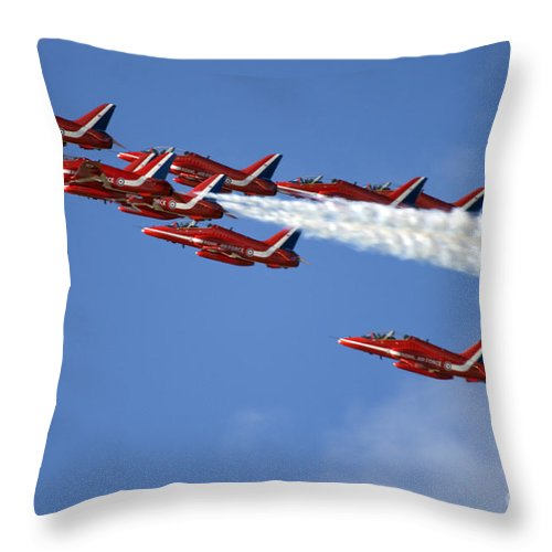 Red Arrows Throw Pillow featuring the photograph Sky Dolphins by Angel Ciesniarska