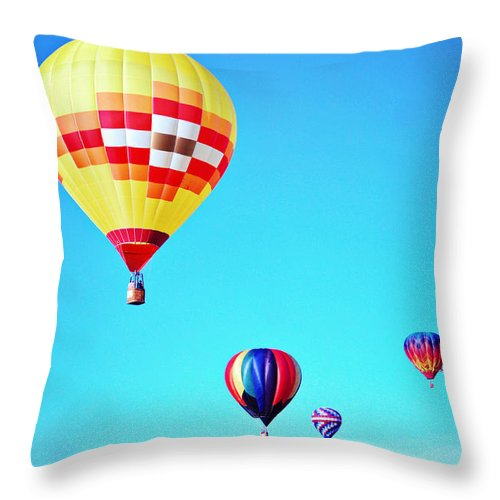 Balloon Throw Pillow featuring the photograph Sky Full Of Color by Jacquelyn Hensley