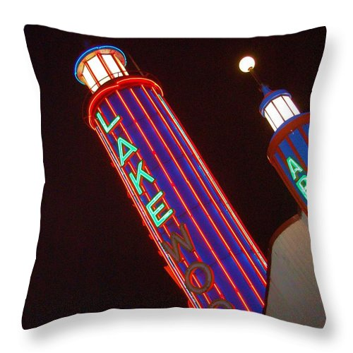 Neon Throw Pillow featuring the photograph Sky Lights by Debbi Granruth