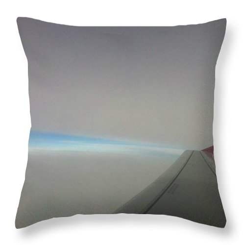 Sky Throw Pillow featuring the photograph Sky Line Between Clouds by Aly Dieaaeldeen