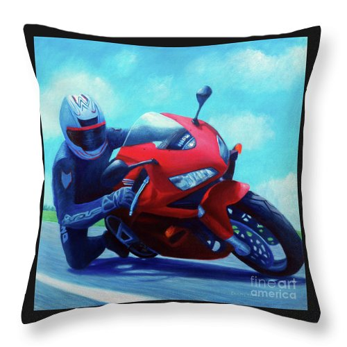 Motorcycle Throw Pillow featuring the painting Sky Pilot - Honda Cbr600 by Brian Commerford