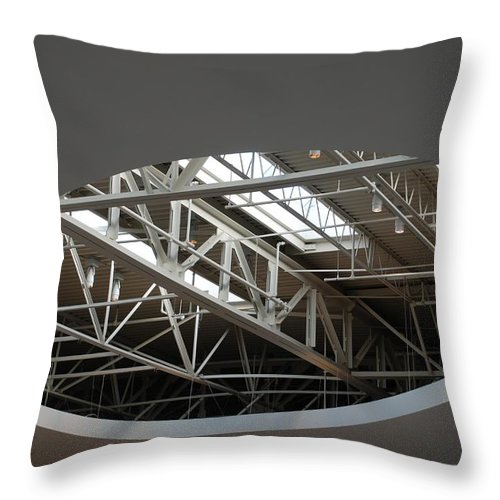 Ceiling Throw Pillow featuring the photograph Skylight Gurders by Rob Hans