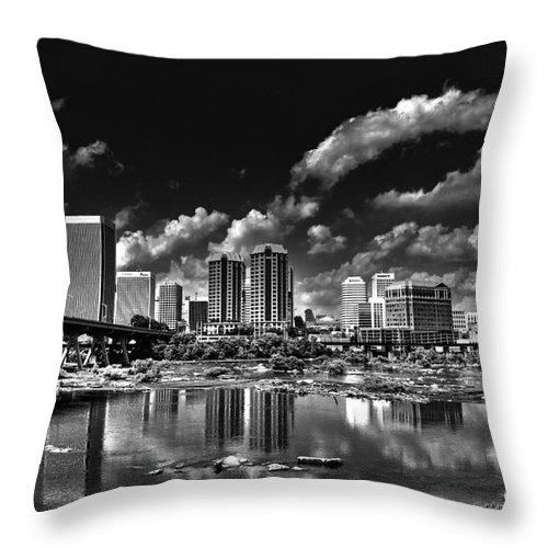Skyline Throw Pillow featuring the photograph Skyline Along The River by Tim Wilson