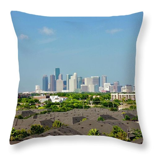 Phoenix Tower Throw Pillow featuring the photograph Skyline Houston by Lorna Maza