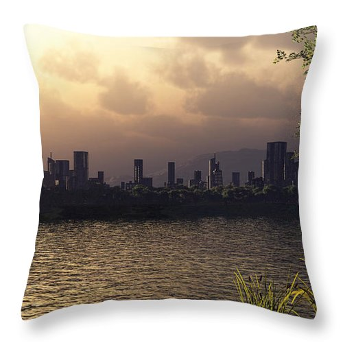Cities Throw Pillow featuring the digital art Skyline Lake by Richard Rizzo
