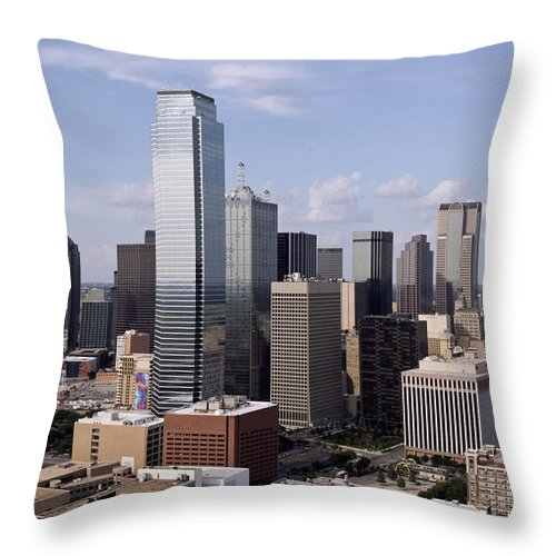 Dallas Throw Pillow featuring the photograph Skyline Of Dallas Texas On A Sunny Day by Wendell Clendennen