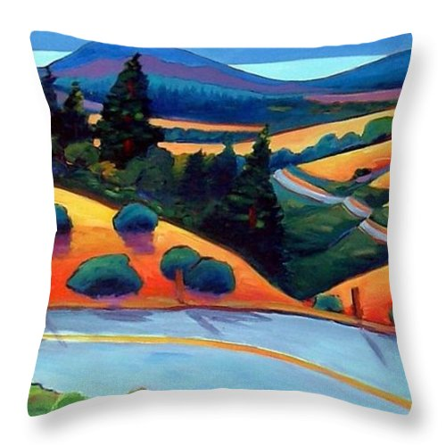 Road Throw Pillow featuring the painting Skyline To The Sea by Gary Coleman