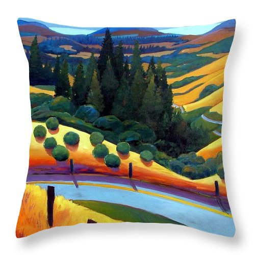 California Throw Pillow featuring the painting Skylline To The Sea Revisited by Gary Coleman
