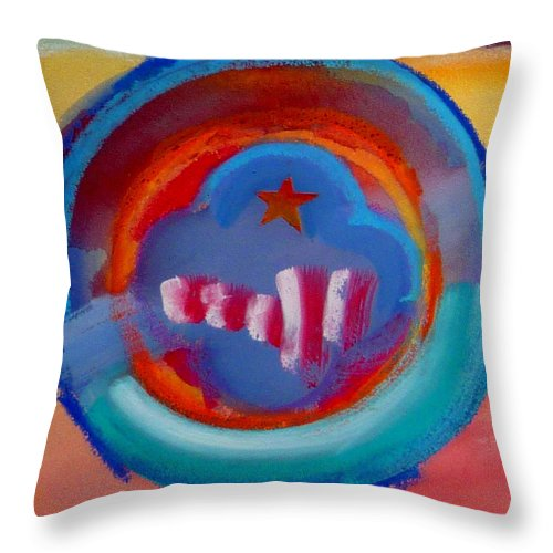 Logo Throw Pillow featuring the painting Skyscrapers by Charles Stuart