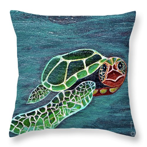 Slate Throw Pillow featuring the painting Slate Painting by Davids Digits