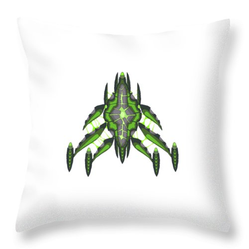 Pixel Graphic Space Scifi Alien Green New Phone Case Star Lazer Throw Pillow featuring the digital art Slee-warship by Zaiya Woods