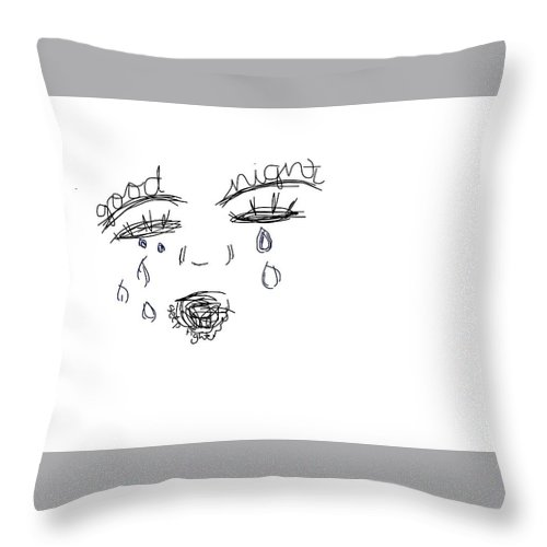 Sad Tired Done Throw Pillow featuring the drawing Sleep Cry by Rachel