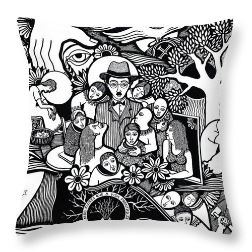 Drawing Throw Pillow featuring the drawing Sleep Not To Have Desire Nor Hope by Jose Alberto Gomes Pereira