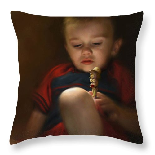 Boy. Figure Throw Pillow featuring the digital art Sleep Off To Wonderland by Stephen Lucas