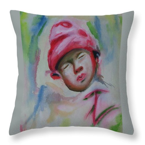 Watercolor Painting Throw Pillow featuring the painting Sleeping Baby by Riya Rathore