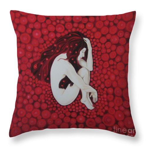 Female Throw Pillow featuring the painting Sleeping Beauty by Jindra Noewi