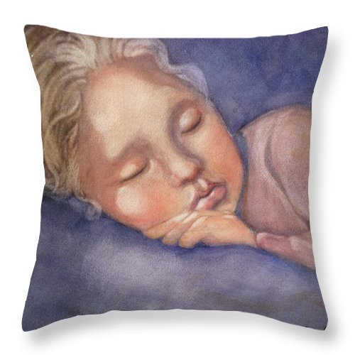 Sleeping Girl Throw Pillow featuring the painting Sleeping Beauty by Marilyn Jacobson