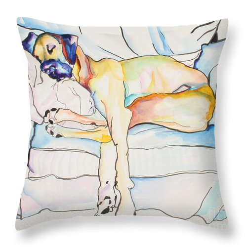 Great Dane Throw Pillow featuring the painting Sleeping Beauty by Pat Saunders-White
