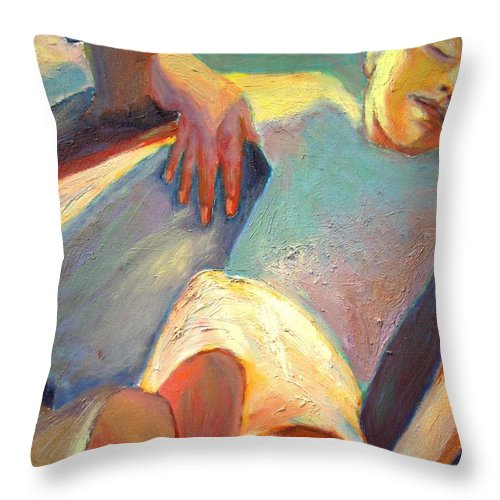 Dornberg Throw Pillow featuring the painting Sleeping Boy by Bob Dornberg