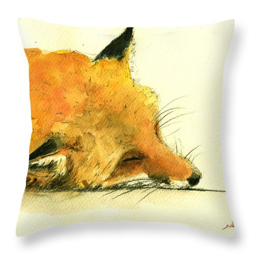 Fox Art Wall Throw Pillow featuring the painting Sleeping Fox by Juan Bosco