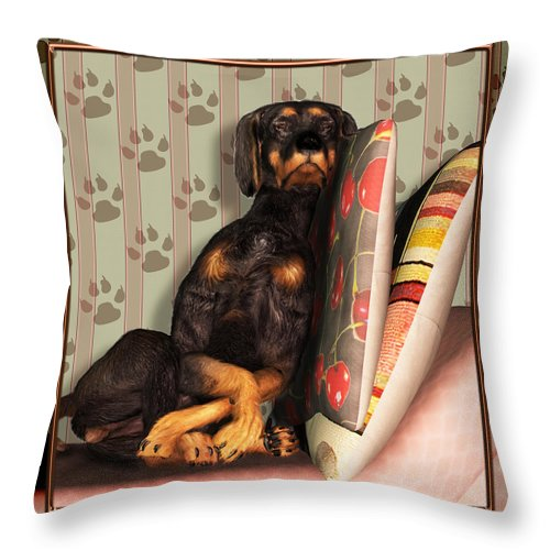 Dog Throw Pillow featuring the digital art Sleeping I by Nik Helbig