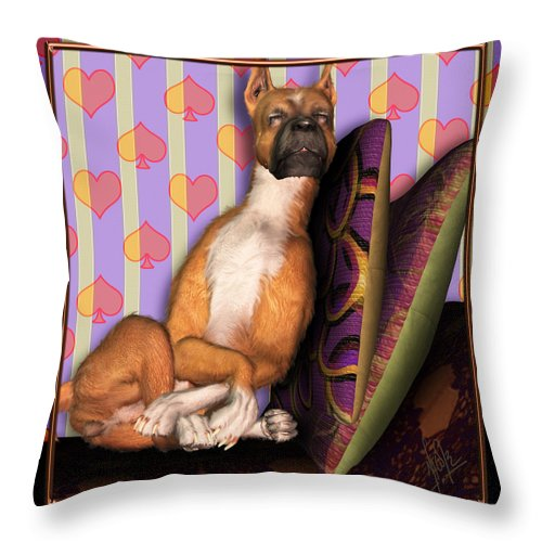 Dog Throw Pillow featuring the digital art Sleeping II by Nik Helbig