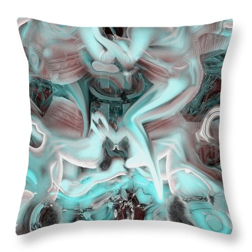 Space Sllep Blue Float Navigate Alien Throw Pillow featuring the digital art Sleeping In My Space Ship by Veronica Jackson