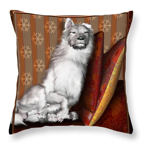 Dog Throw Pillow featuring the digital art Sleeping Iv by Nik Helbig