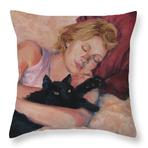 Portrait Throw Pillow featuring the painting Sleeping With Fur by Connie Schaertl