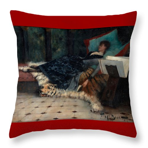 Ferdinand Bredt Throw Pillow featuring the painting Sleeping Woman With A Book by Ferdinand Bredt