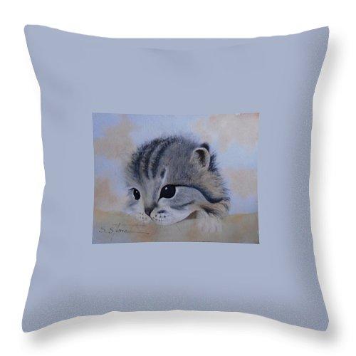 Animal Portrait Throw Pillow featuring the painting Sleepy Kitten by Sandra Stone