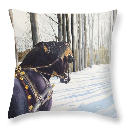 Horse Throw Pillow featuring the painting Sleigh Bells by Ally Benbrook