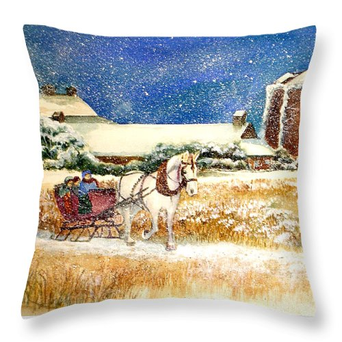 Watercolor;sleigh;horse;barn;silos;winter;snow;sleigh Ride;christmas; Throw Pillow featuring the painting Sleigh Ride At Brickers by Lois Mountz