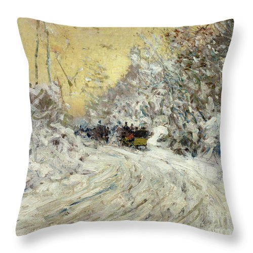 Sleigh Ride In Central Park (oil On Canvas) By Childe Hassam (1859-1935) New York City; Nyc; Manhattan; Winter; Snow; Snowy; American Impressionist; The Ten Group; Central Throw Pillow featuring the painting Sleigh Ride In Central Park by Childe Hassam