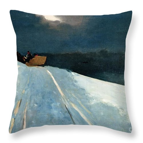 Winter Scene; Wintry; Snow; Snow-covered Landscape; Rural; Remote; Night; Darkness; Tracks; Path; Track; Moonlight; Sledge; Nocturne; Sleigh Ride Throw Pillow featuring the painting Sleigh Ride by Winslow Homer