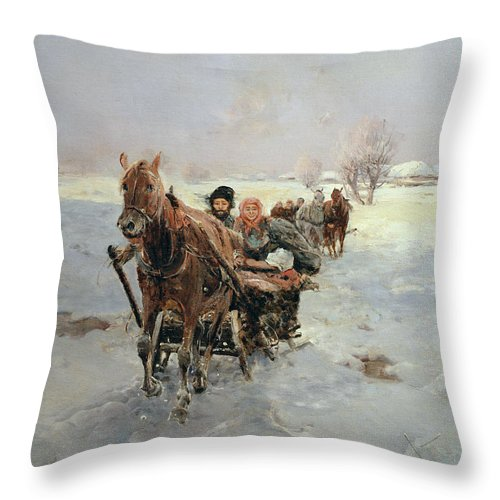 Sleighs Throw Pillow featuring the painting Sleighs In A Winter Landscape by Janina Konarsky