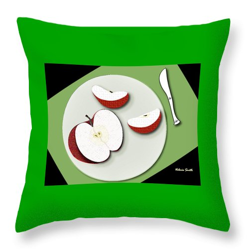 Apple Slices Throw Pillow featuring the digital art Sliced Apple by Valerie Smith