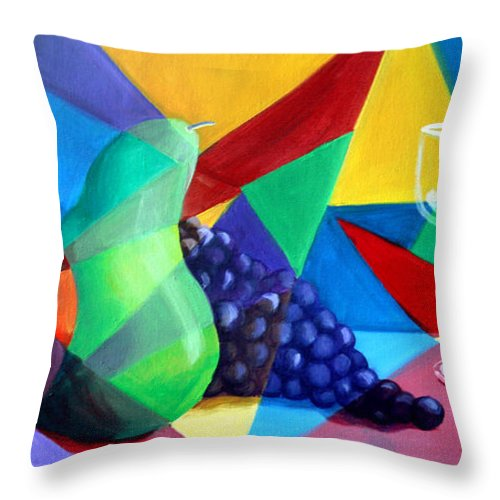 Fruit Throw Pillow featuring the painting Sliced Fruit by Maryn Crawford