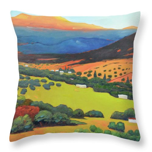 Hills Throw Pillow featuring the painting Sliice Of Last Light by Gary Coleman