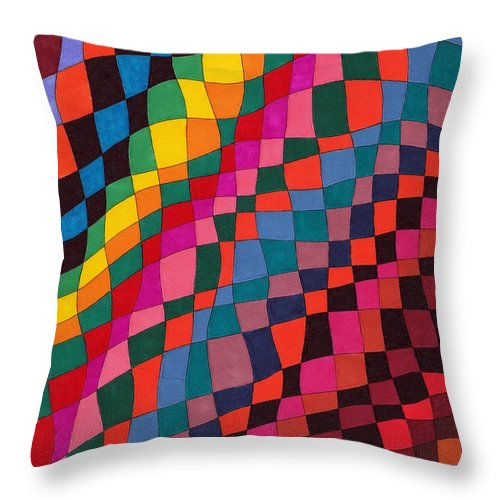 Abstract Pen Drawing Multicoloured Squares Rectangles Distorted Optical Art Fun Contemporary Throw Pillow featuring the drawing Slip Sliding Away by Susan Epps Oliver