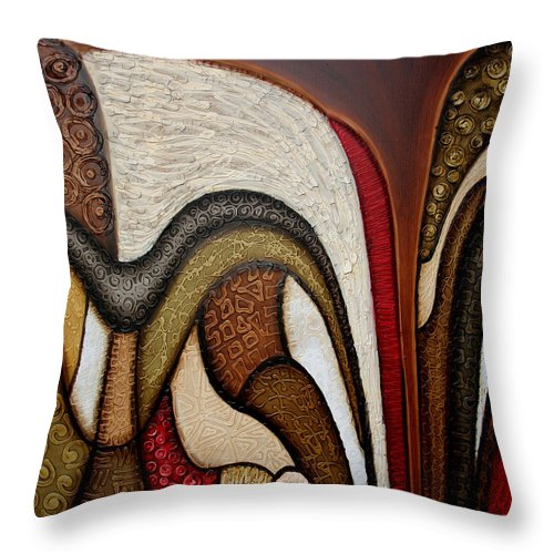 Abstract Art Throw Pillow featuring the painting Slippery Slope by Jill English