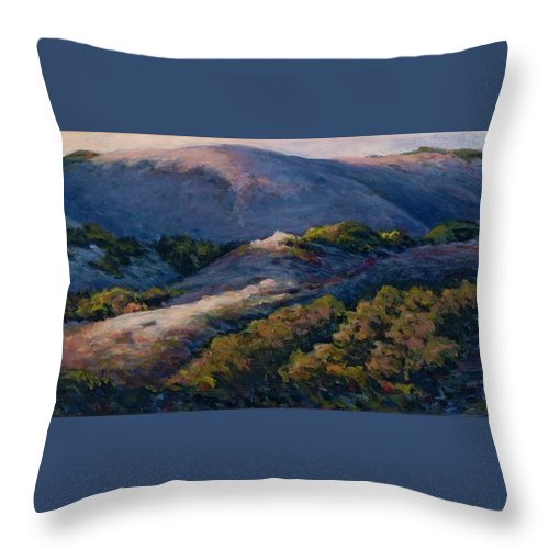Landscape Throw Pillow featuring the painting Slipping Into Night by Betsee Talavera