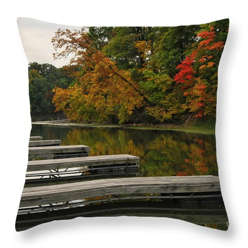 Boat Slipslips Throw Pillow featuring the photograph Slips In Autumn by Michelle Hastings