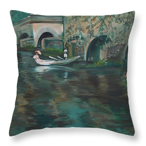 River Throw Pillow featuring the painting Slow Boat - Lmj by Ruth Kamenev